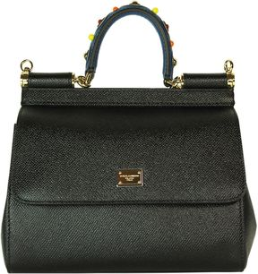 Dolce & Gabbana Black Jewelled Handle Sicily Small Tote - PINK - STYLE