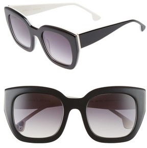 Alice + Olivia Women's Aberdeen 50Mm Square Sunglasses - Black/ White