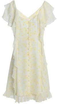 Cinq à Sept Georgia Ruffled Floral-Print Silk-Chiffon Dress