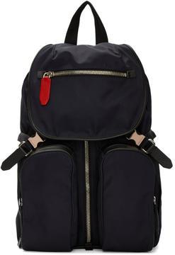Neil Barrett Navy Nylon Flap Backpack