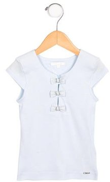Chloé Girls' Bow-Adorned Cap Sleeve Top