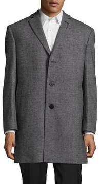 Calvin Klein Wool-Blend Herringbone Coat