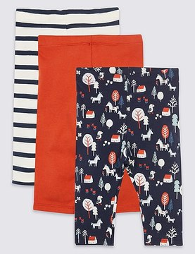 Marks and Spencer 3 Pack Cotton Printed Leggings with Stretch