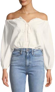 J.o.a. Off-The-Shoulder Lace-Front Crop Top