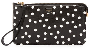 Dolce & Gabbana Polka Dot Leather Wristlet - BLACK - STYLE