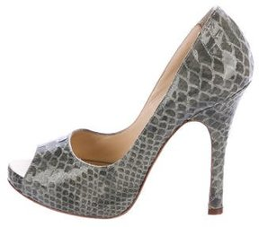 Luciano Padovan Embossed Patent Leather Pumps