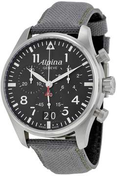 Alpina Startimer Pilot Black Dial Grey Fabric Men's Watch AL372B4S6