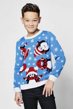 boohoo Boys Penguin Christmas Jumper