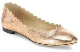 Chloé Lauren Scalloped Metallic Leather Flats