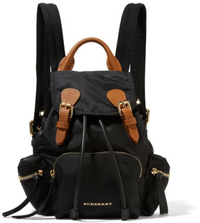 Burberry Small Leather-trimmed Gabardine Backpack - Black - BLACK - STYLE
