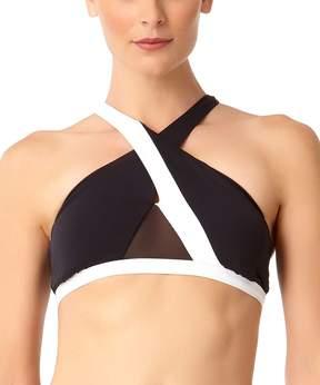 Anne Cole Black & White Mesh-Panel Bikini Top - Women
