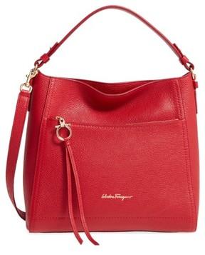 Salvatore Ferragamo Small Pebbled Leather Hobo - Red