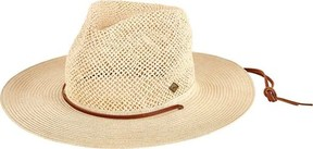 San Diego Hat Company Open Weave Crown Fedora with Chin Cord SDH3019 (Men's)