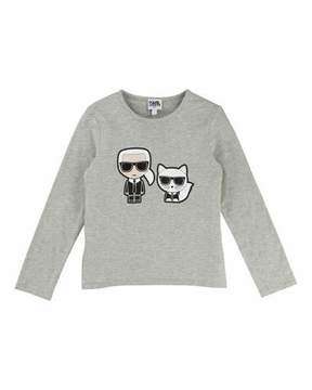Karl Lagerfeld & Choupette Front-Back Graphic Tee, Size 6-10