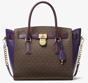 Michael Kors Hamilton Color-Block Logo and Leather Satchel - Brown/Damson/Iris - 30F7GHMS9V-578 - ONE COLOR - STYLE
