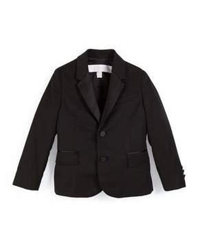 Burberry Wool Two-Button Tuxedo Jacket, Black, Size 4-14