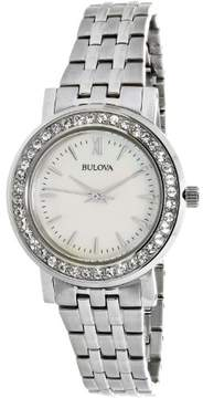 Bulova Women's Crystal Silver-Tone Stainless Steel Mother of Pearl Dial