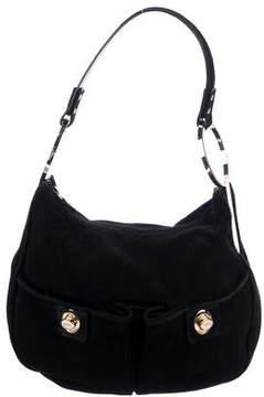 Tod's Ponyhair-Trimmed Suede Shoulder Bag