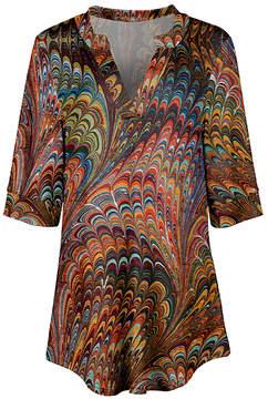 Azalea Rust & Orange Abstract V-Neck Tunic - Women & Plus