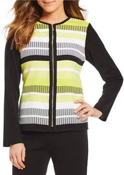 Ming Wang Jewel Neck Multi Stripe Jacket