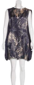 Alexander McQueen Silk Cape-Accented Dress