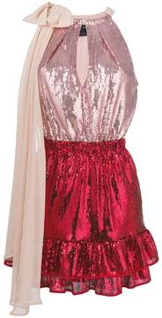 Christian Pellizzari colour block sequinned mini dress with bow fastening