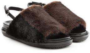 Marni Mink Fur Sandals
