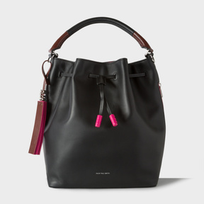 Women's Black Leather Bucket Bag