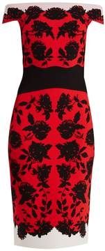 Alexander McQueen Off-the-shoulder rose-intarsia midi dress