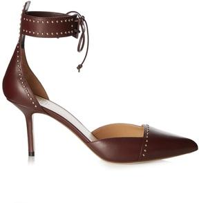 Francesco Russo Leather stud-embellished point-toe pumps