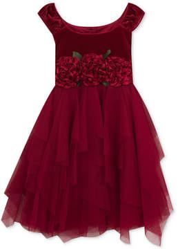 Rare Editions Floral-Trim Velvet Dress, Little Girls (4-6X)