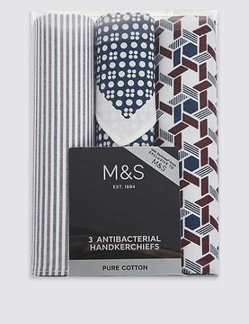 Marks and Spencer 3 Pack Pure Cotton Handkerchiefs with Sanitized Finish®