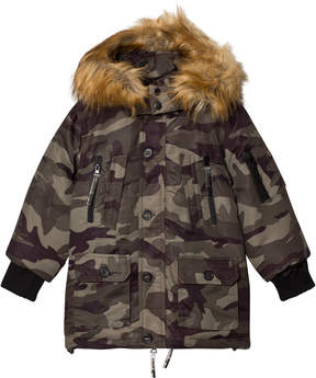 Diadora Camouflage Grizzly Lungo Nylon Parka Hooded Jacket