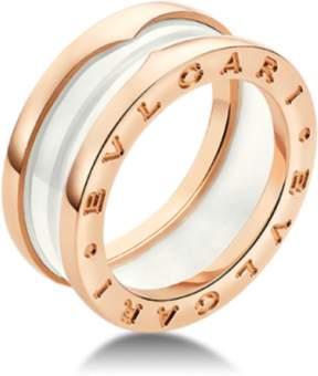 Bulgari B. Zero 1 18K Rose Gold & White Ceramic Ring Size: 5.75