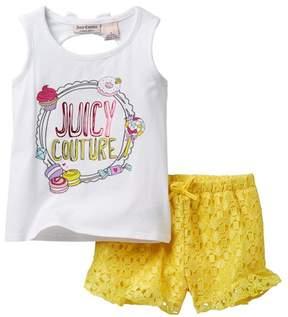 Juicy Couture Sweet Treats Tank & Lace Short Set (Big Girls)