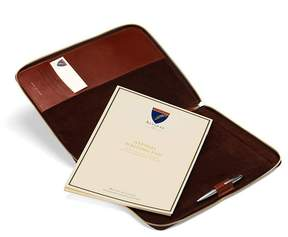 Aspinal of London Executive A4 Zipped Padfolio In Smooth Cognac Espresso Suede