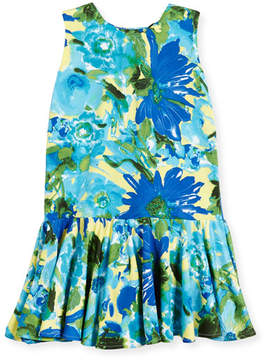 Helena Sleeveless Stretch Jersey Floral Fit-and-Flare Dress, Royal, Size 7-14
