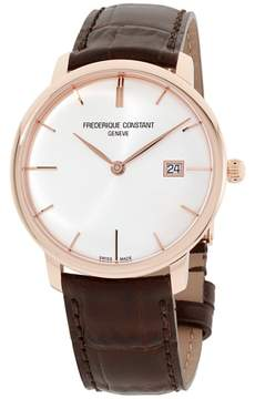 Frederique Constant Slimline FC306V4S4 Gold Tone Stainless Steel Silver Dial 40mm Mens Watch