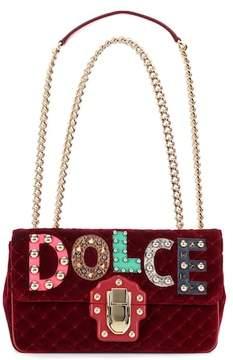 Dolce & Gabbana Lucia leather and velvet shoulder bag