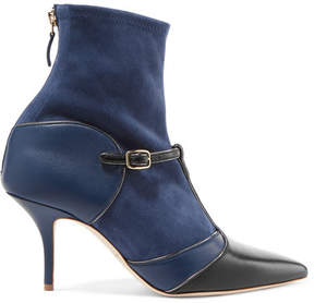 Malone Souliers Sadie Suede And Leather Sock Boots - Navy