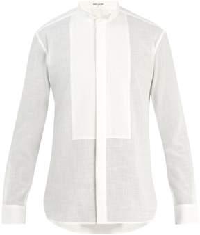 Saint Laurent Pintuck-pleated tuxedo cotton shirt