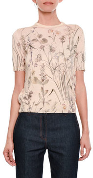 Bottega Veneta Short-Sleeve Crewneck Floral-Print Cashmere Top