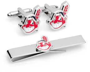 Ice Cleveland Indians Cufflinks and Tie Bar Gift Set