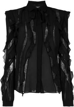 Elie Saab sheer stripes frilled blouse