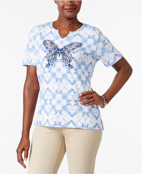 Alfred Dunner Printed Butterfly Graphic Top