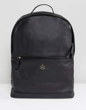 Asos Backpack In Black Leather With Emboss Detail