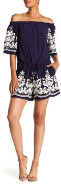 ECI Off-the-Shoulder Embroidered Romper