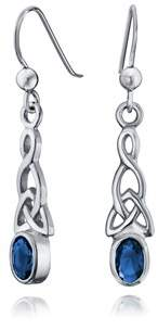 Celtic Bling Jewelry Oval Simulated Sapphire Glass Knot Sterling Silver Drop Earrings.