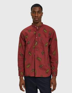 Beams Band Collar Popover Dobby Print Paisly Shirt in Wine