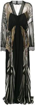 Alberta Ferretti lace-trimmed printed maxi dress